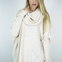 Cowl Neck Long Sleeve Box Sweater