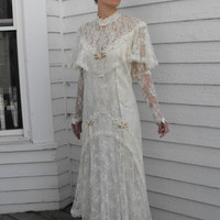 Vintage Wedding Dress Lace Bridal 80s Ivory Antique Style Edwardian Victorian Titanic Susan Lane Country Elegance