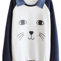 ROMWE | Romwe Color Block Smiling Face Dark-blue Sweatshirt, The Latest Street Fashion