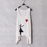 Banksy Heart Ballon - Women Tank Top - White - Sides Drop - Fixed Cut