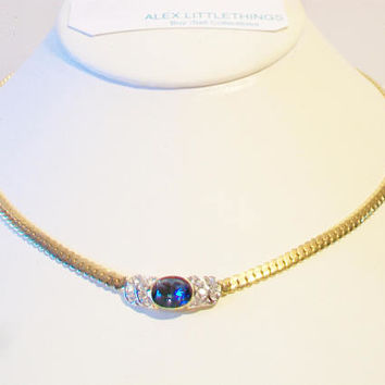 Faux Sapphire Necklace Blue Rhinestone Costume Jewelry Wedding Prom