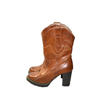 Vintage Roper Cowboy Boots Women's Cowboy Boots Brown Leather Cowboy Boots