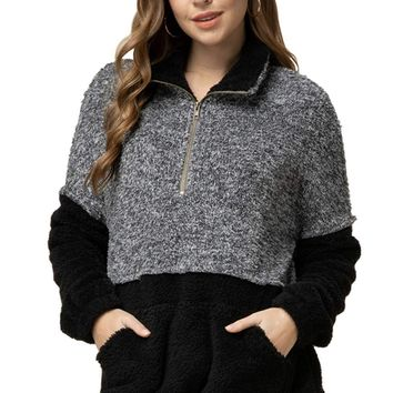 Entro Women's Long Sleeve Casual Faux Fur Soft Sherpa Fleece Zip Up Pullover Sweatshirt