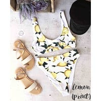 kylie sporty swim top + banded high waist high cut cheeky bottom - separates - lemons