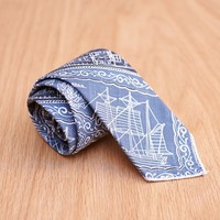Nautical Print Neck Tie in Blue