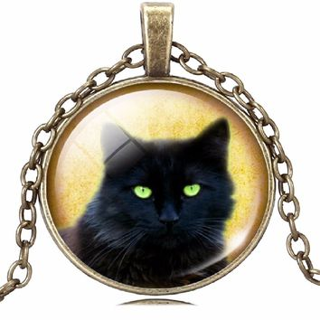 Glass Cabochon Silver Bronze Chain Black Cat Necklace