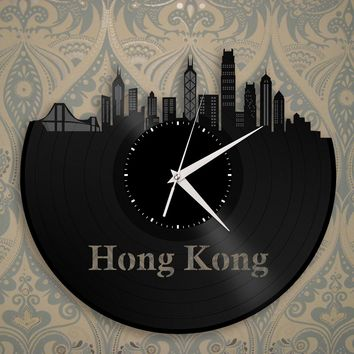 Hong Kong Skyline Clock, China Cityscape, Chinese Travel Gift Idea, Wall Decoration Ideas, Vinyl Wall Art, City Wall Decal, Record Art
