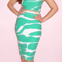 Green and White Pencil Skirt