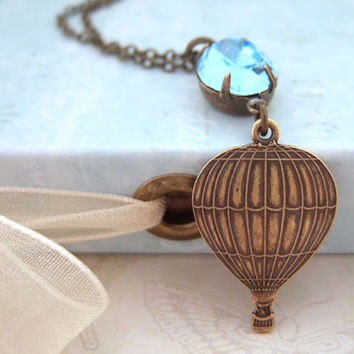 UP UP and AWAY, hot air balloon necklace with vintage Swarovski jewel in antique brass