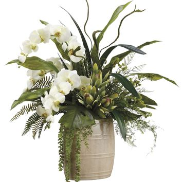 Lifelike White Phalaenopsis Orchids With Staghorn Ferns Silk Floral Arrangement