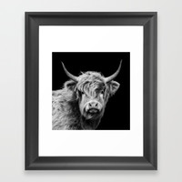 Highland Cow Black And White Framed Art Print by Linsey Williams Wall Art, Clothing, And