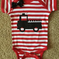 Firefighter Onesuit - Fireman Onesuit - Firefighter Baby - Glitter Onesuit - Onesuit - Ruffles with Love - Girls Onesuit