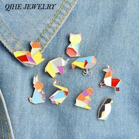 QIHE JEWELRY 9pcs/set Origami Animal Lapel Pin Enamel Pins Elephant Rabbit Bunny Bear Squirrel Whale Pony Penguin Fox Design