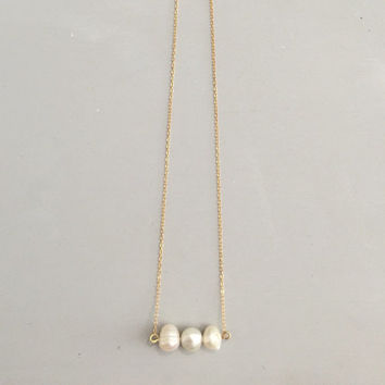 Pearl stacking necklace 14k gold filled chain 20""