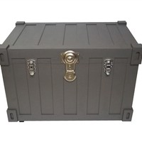 Bolt Trunks - Gray Extra Roomy College Footlocker Storage Trunk with Wheels