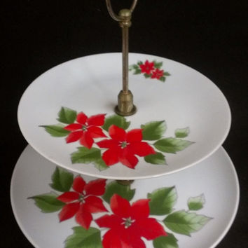 Christmas Sale 2 Tiered Poinsettia Presentation Stand, Cake Stand, Sandwich Stand, Cupcake Stand (553)