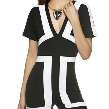 Charming Plunge Neck Color Block Slim-Fitted Romper