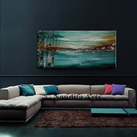 Turquoise Large Landscape Painting, Birch Tree, Oil Painting, Sunset Artwork, Acrylic Artwork on Canvas, Original Gift Painting, By Nandita
