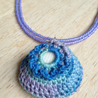 Shell Necklace Variegated Blue, Purple and Teal with Purple Glass Seed Beads, Crocheted Shell Necklace, Beach Jewelry