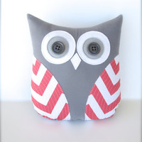 decorative coral and white owl, plush owl pillow, chevron coral nursery decor, gift for her, whimsysweetwhimsy