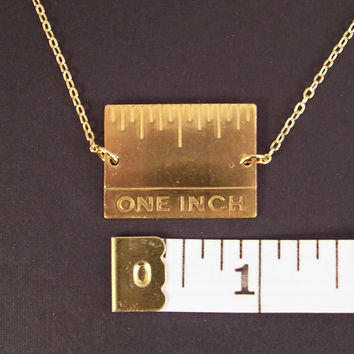 Give Me An Inch - Golden Real Inch Ruler Necklace Gold Plated Chain