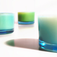 Colorful Glass Tealights set of three pure all by aromacandles