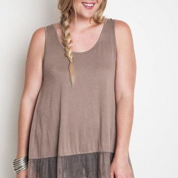 Womens Lace Hemline Tank Top Mocha