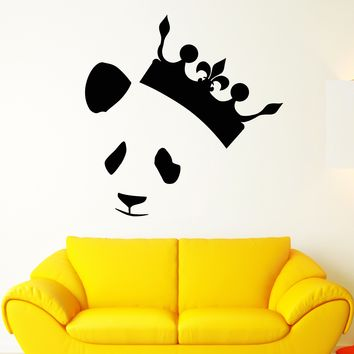 Vinyl Wall Decal Abstract Panda Head Bear Crown King Stickers (2472ig)