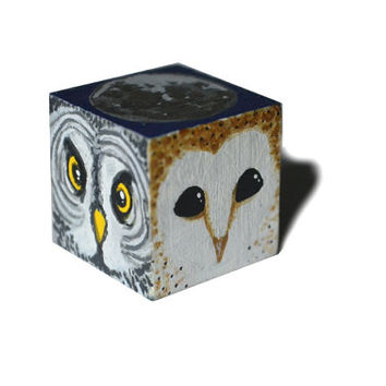 Owls and moon hand painted wooden art cube