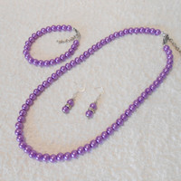 Pearl necklace, Beautiful purple pearl set, great for gift and every other occasion