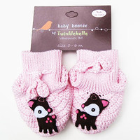 Handmade Cotton Baby Booties - Pink with Deer