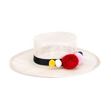 NATASHA ZINKO   Pom Pom Trim Straw Hat   brownsfashion.com   The Finest Edit of Luxury Fashion   Clothes, Shoes, Bags and Accessories for Men & Women