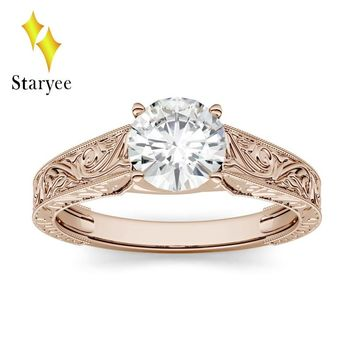 14K Rose Gold 1.0ct 6.5mm GH VS Round Brilliant Cut Lab Diamond Moissanite Solitaire with Carved Band Engagement Ring For Women
