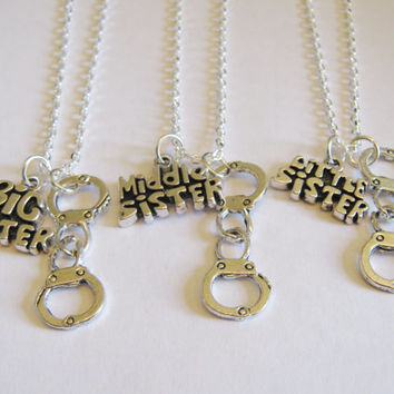 3 Sisters Partner In Crime Handcuff Necklaces Big, Middle  And Little Sister