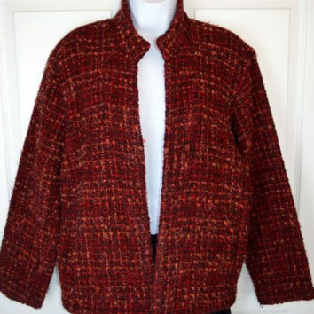 CHICOS Size 1 Boucle Open Front Jacket Small Med Oversized Red Black Blazer Coat