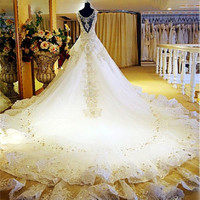 2015 New Bandage Crystal Lace V-Neck Luxury Wedding Dress 2015 Bridal Dress gown vestido de noiva