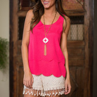 Scalloped Sweetly Tank, Hot Pink