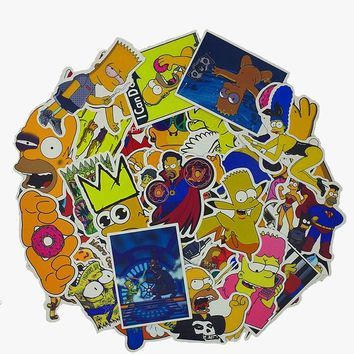 50pcs/pack Anime Cartoon Simpson Stickers For Laptop Luggage Car Bicycle Motorcycle Skateboard Phone Decor Decal Graffiti F4