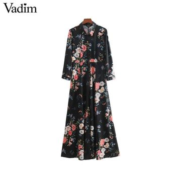 Vadim women vintage floral print maxi dress pockets long sleeve pleated ladies office wear casual long dresses vestidos QA255