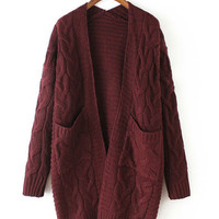 V-Neck Long Sleeve Knitted Cardigan