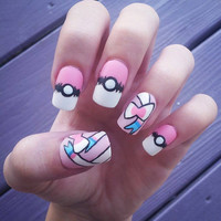 Pokemon Sylveon pastel fake handpainted nails