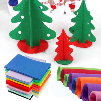 10pcs/set 30X21cm Non-woven Felt Fabric polyester sleeve cloth Kids DIY Christmas Craft 1mm Thick Mixed Color Home Decoration Y1