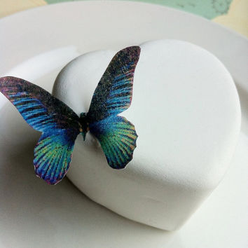 The Original EDIBLE BUTTERFLIES- small Blue Green - Cake & Cupcake toppers