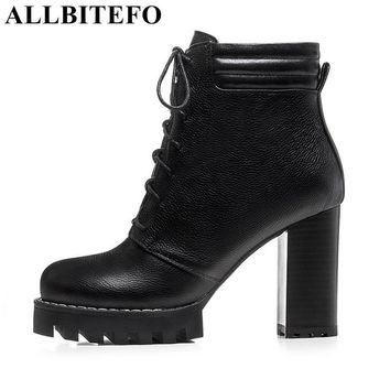 ALLBITEFO thick heel genuine leather platform women boots sexy high heel shoes lace-up high quality martin boots girls boots