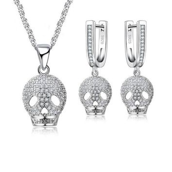 Skull Pendant 925 Sterling Silver Women Jewelry Set With Full Clear White Cubic Zircon Crystal