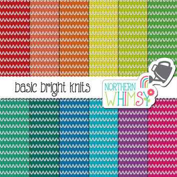 Bright Knit Digital Paper – bright knit scrapbook paper with a stripe pattern - stripe knit texture - printable paper - commercial use