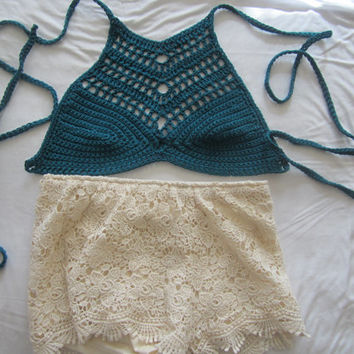 TEAL CROPPED TOP, Crochet halter top, festival clothing, boho chic, Bohomian cropped top,  beach cover up,gypsy top, 100% cotton