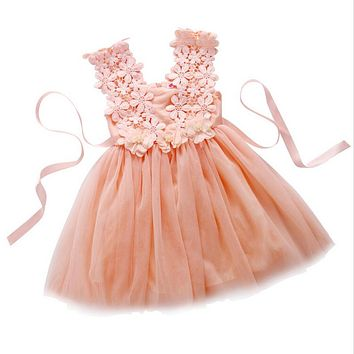 Flower Girls Princess Dress Sundress Children Casual School Toddler Kids Clothes Party tutu Tulle Flower