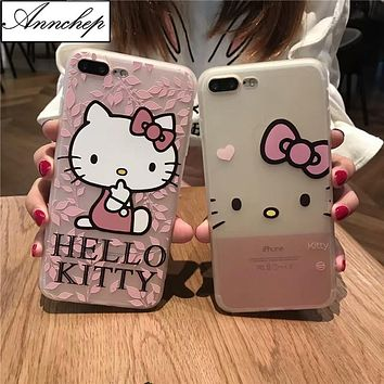 Cartoon Cute Hello kitty soft Silicon case for iphone 6s 6 Plus 5s SE Full Body Protection coque For iphone X 7 8 Plus fundas