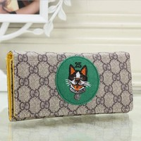 Gucci Fashion Women Leather Buckle Wallet Purse